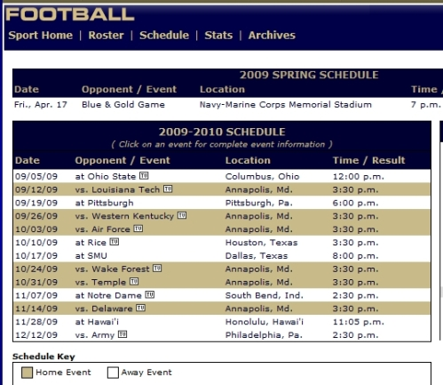 usna football schedule