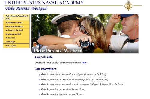 plebe parent weekend